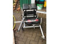 Ultimate seat box with foot plate travel wheels and extension arms