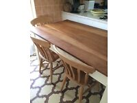 Oak table and chairs 4 or 6