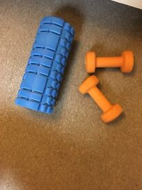 Foam roller and 3kg weights
