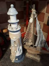Seaside boat and lighthouse bathroom ornament good Xmas gift present