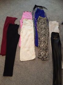9 pairs of ladies trousers size 8 & 10