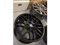 "18"" ORIGINAL BMW CS ALLOYS WHEELS - SET OF 4 REFURBISHED IN GLOSS BLACK"