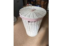 Lovely White Wicker Laundry Basket with Removable Pink Liner