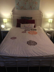 Double bed: frame and mattress. Bedside tables and lamps extra if desired.