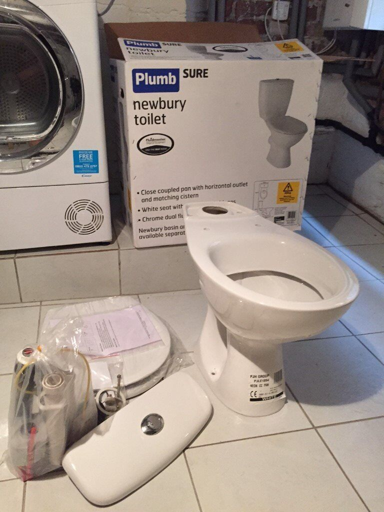 PLUMB SURE NEWBURY WHITE TOILET - NEW IN BOX WITH ALL ACCESSORIES ...