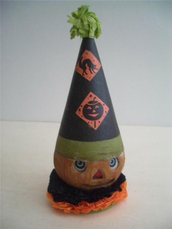 Bethany Lowe Designs ~  Pumpkin Clown Halloween Container ~ Paper Pulp ~ TJ9214