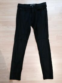 Topshop coated Leigh Jeans black