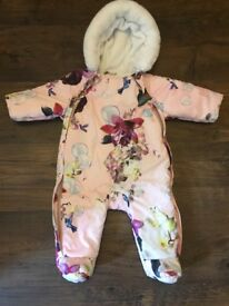 Girls baby ted baker snowsuit age 0-3 months