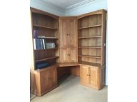 Solid Wood Complete corner unit with desk, computer unit, bookcases and cupboards
