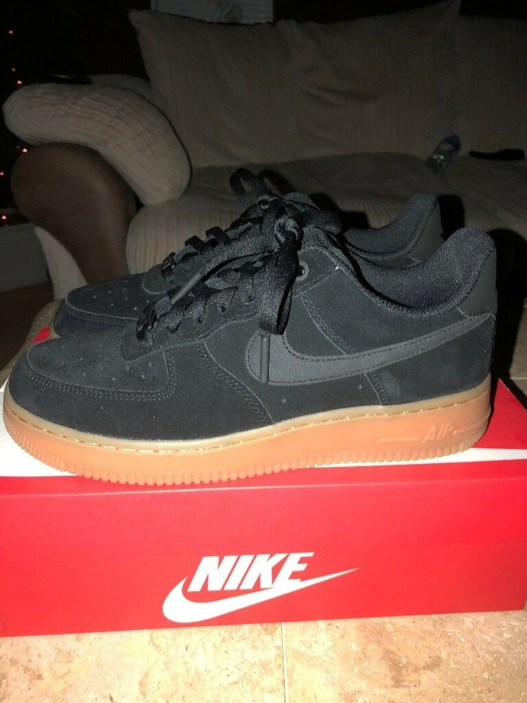 Women's Nike Air Force 1 Black Suede Gum Sole SIZE 6