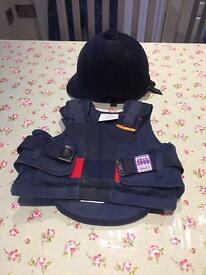 Small child's riding helmet and body protector