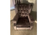 Grey crushed velvet armchair from Next
