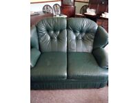 Green leather lounge seating sofa chairs x2 footstall x2 and poof