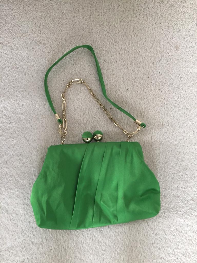 Beautiful green satin clutch bag