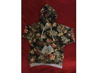 Flower-print hoodie