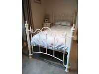 Single bed frame with metal head and foot