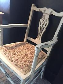 Oak Carver occasional chair vintage Shabby Chic Tapestry seat