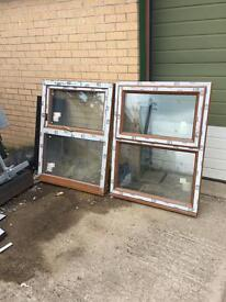 2 x oak/brown top opening windows with gold handles