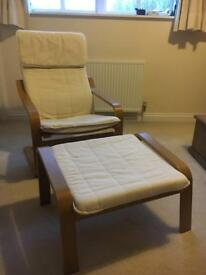 Ikea chair and matching footstool