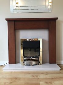 Fire place - Mahogany and marble surround, with electric fire. 47 inch.