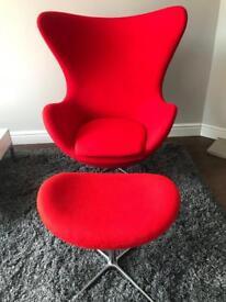 Red Arne Jacobsen Egg Chair & Foot Stool
