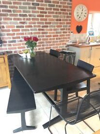 Lovely solid black oak extendable table with chairs & bench