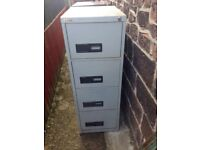 4 Drawer Easican Metal Filing Cabinet with Lock and Key solid condition