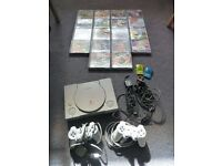 Playstation Grey Games console plus 2xControllers,18x Games,2x Memory cards-£100
