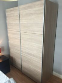 Sliding Wardrobe - Oak Effect (H200cm x W150cm x D59.5cm)