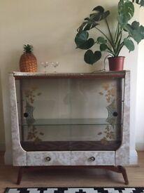 Vintage retro formica glass display cabinet