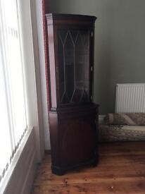 Vintage corner display cabinet glass door perfect upcycle project