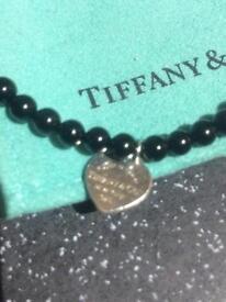 TIFFANY & Co heart black onyx Bracelet 925 comes in Tiffany & Co Dust Bag all hallmarked GENUINE