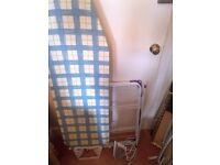 iron with ironing board and drying rack