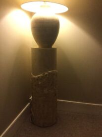 Lovely large stone table lamp with matching macatan stone pedestal.
