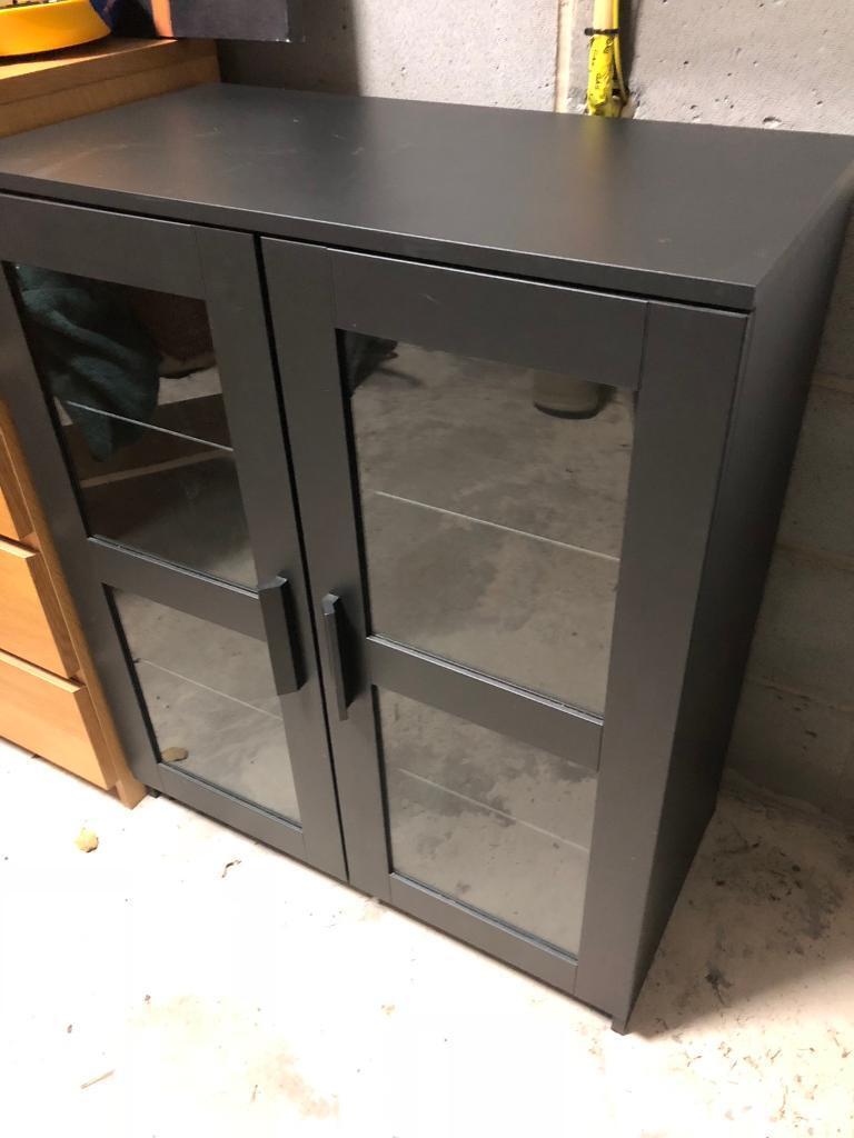 Black ikea cabinet glass doors