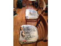 3 vintage wooden chairs with New York seat covers