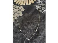 Silver Necklace (short) with Shimmering beads
