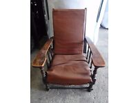 Vintage Large Chunky Low Recliner Chair great restoration project