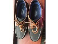 Marks & Spencer Men's Size 6 Suede Navy & Brown Boat Shoes
