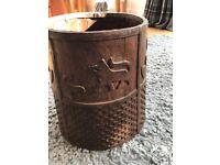 Solid hardwood carved bucket - very unusual!