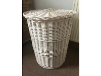 White wicker washing laundry basket round with lid