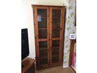 Solid Pine Glass Display Cabinet Cupbord with Light - Great condition