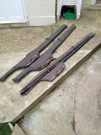 3 Shimano trible rod cases and 2 Wychwood carp rods!