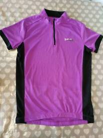 Purple and black cycling top