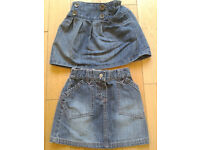 2 girls demin skirts - Age 1.5-2 years