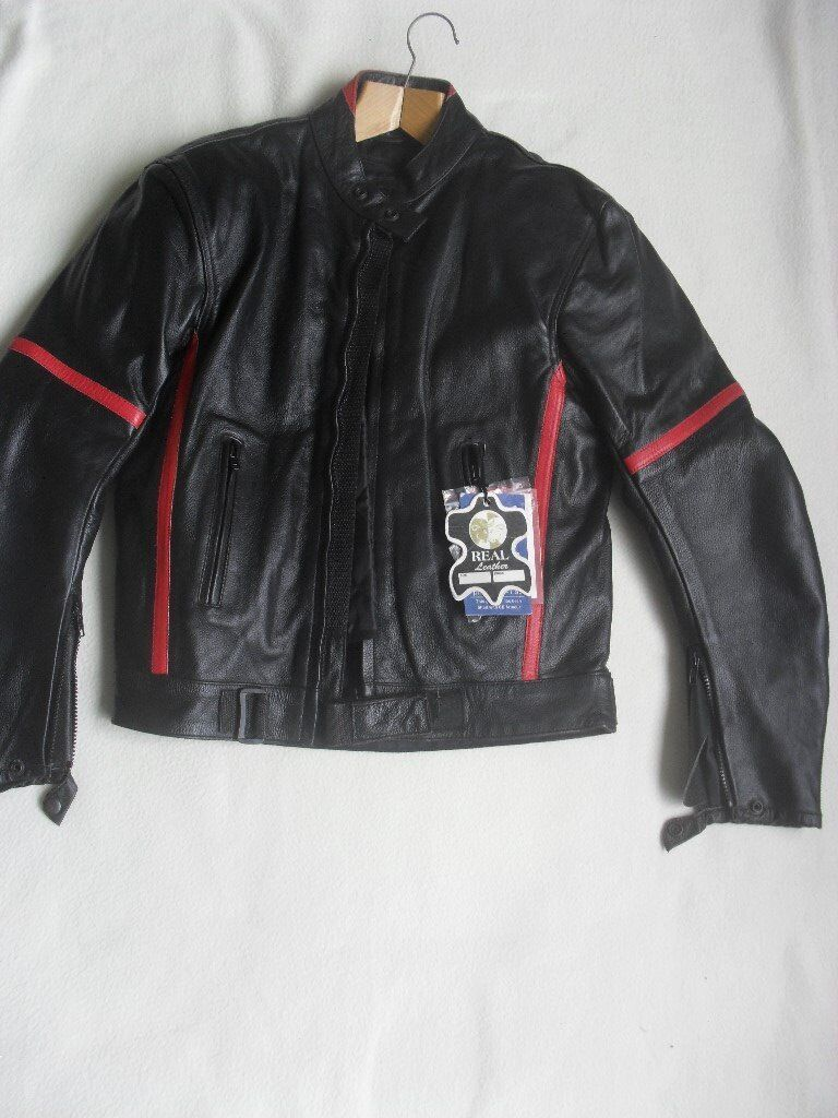 UNISEX BLACK LEATHER BIKER JACKET - NEW TAGS ATTACHED - PROTECTIVE ARMOUR, THERMAL LINING