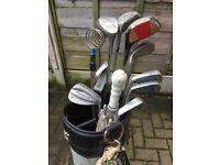 Golf set including 6 irons, 3 woods, brollie and ball retriever