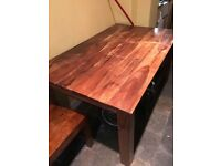 Indian wood dining table and chairs