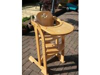 Wooden High Chair, trip-trap style. 1-10 years.