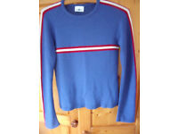 New Look women's royal blue round neck jumper with red/white stripe detailing. Size 8.
